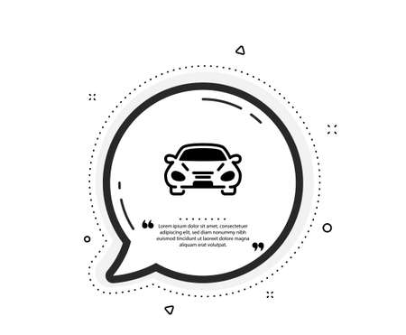 Car transport icon. Quote speech bubble. Transportation vehicle sign. Driving symbol. Quotation marks. Classic car icon. Vector