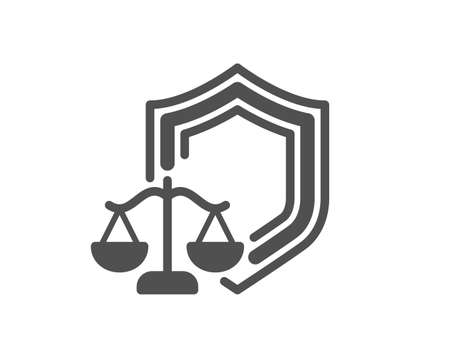 Justice scales icon. Judgement scale sign. Law protection symbol. Classic flat style. Quality design element. Simple justice scales icon. Vector