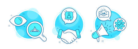Cloakroom, Augmented reality and Developers chat line icons set. Handshake deal, research and promotion complex icons. Service sign. Hanger wardrobe, Phone simulation, Manager talk. Vector Vectores