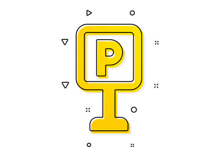 Car park sign. Parking icon. Transport place symbol. Yellow circles pattern. Classic parking icon. Geometric elements. Vector