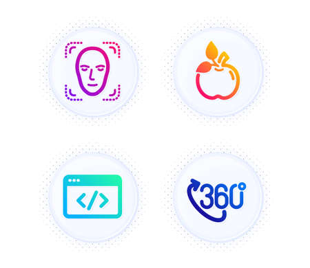 Face detection, Seo script and Eco food icons simple set. Button with halftone dots. 360 degree sign. Detect person, Programming, Organic tested. Virtual reality. Science set. Vector