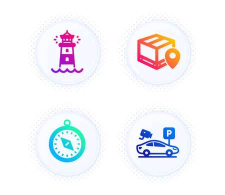Parcel tracking, Lighthouse and Travel compass icons simple set. Button with halftone dots. Parking security sign. Package location pin, Searchlight tower, Trip destination. Video camera. Vector Illustration