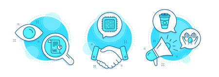 Takeaway coffee, Safe water and Report line icons set. Handshake deal, research and promotion complex icons. Cpu processor sign. Hot latte drink, Hold drop, Work analysis. Computer component. Vector