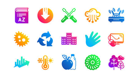 Jet turbine, Wind energy and Cloud services. Company building, Fan engine and Profits chart icons. Classic icon set. Gradient patterns. Quality signs set. Vector Ilustrace