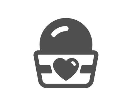 Ice cream cup icon. Vanilla sundae sign. Frozen summer dessert symbol. Classic flat style. Quality design element. Simple ice cream icon. Vector