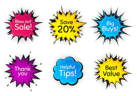 Best value, 20% discount and helpful tips. Comic speech bubble. Thank you, hi and yeah phrases. Sale shopping text. Chat messages with phrases. Colorful texting comic speech bubble. Vector