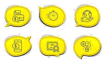 Phone payment sign. Diploma certificate, save planet chat bubbles. Accounting report, Timer and Seo idea line icons set. Financial case, Deadline management, Performance. Mobile pay. Vector