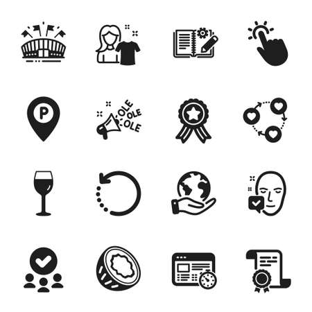 Set of Business icons, such as Face accepted, Sports arena. Certificate, approved group, save planet. Web timer, Clean shirt, Recovery data. Engineering documentation, Wine glass, Ole chant. Vector Illustration