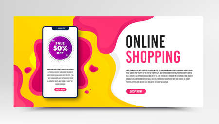 Sale 50% off badge. Phone screen mockup fluid banner. Discount banner shape. Coupon bubble icon. Social media banner with smartphone screen. Shopping mockup web template. Sale 50% promotion. Vector
