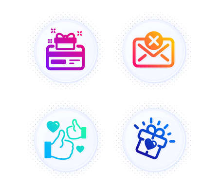Reject mail, Like and Loyalty card icons simple set. Button with halftone dots. Love gift sign. Delete letter, Thumbs up, Bonus points. Heart present. Business set. Vector Vektorové ilustrace