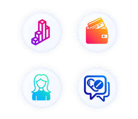 3d chart, Debit card and Woman icons simple set. Button with halftone dots. Medical drugs sign. Presentation column, Wallet with credit card, Girl profile. Medicine pills. Business set. Vector