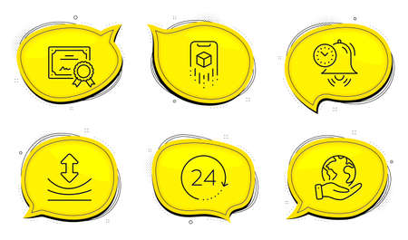 Time management sign. Diploma certificate, save planet chat bubbles. Resilience, Augmented reality and 24 hours line icons set. Elastic, Phone simulation, Time. Alarm clock. Science set. Vector