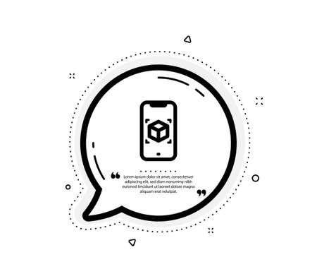 Augmented reality phone icon. Quote speech bubble. VR simulation sign. 3d cube symbol. Quotation marks. Classic augmented reality icon. Vector