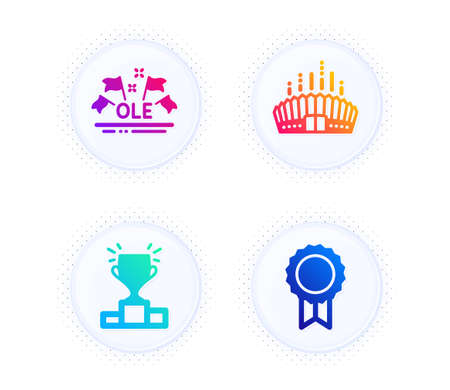 Winner podium, Ole chant and Arena stadium icons simple set. Button with halftone dots. Reward sign. Competition results, Sport championship, Competition building. Best medal. Sports set. Vector Illustration