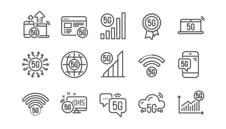 5G technology line icons set. Phone connection, mobile network, fast internet. Hotspot signal, mobile telecommunications, wifi internet icons. 5G cellular network technology. Linear set. Vector