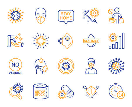 Coronavirus line icons. Medical protective mask, hands sanitizer, no vaccine. Stay home, washing hands hygiene, coronavirus epidemic mask icons. Covid-19 virus pandemic, toilet paper panic. Vector