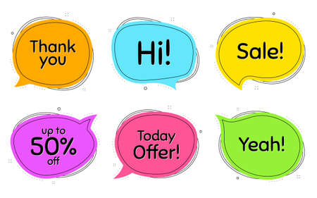 Sale, 50% discount and today offer. Thought chat bubbles. Thank you, hi and yeah phrases. Sale shopping text. Chat messages with phrases. Colorful texting thought bubbles. Vector