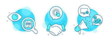 Monitor settings, Winner ticket and Click hand line icons set. Handshake deal, research and promotion complex icons. Currency exchange sign. Service cogwheel, Carousels award, Touch gesture. Vector Illusztráció