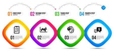 Time management, Stock analysis and Interview icons simple set. Timeline infographic. Payment received sign. Teamwork clock, Business trade, Checklist file. Money. Education set. Vector