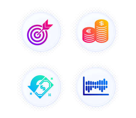 Currency, Cashback and Target icons simple set. Button with halftone dots. Column diagram sign. Euro and usd, Receive money, Targeting. Sale statistics. Finance set. Vector Illusztráció