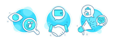 Loyalty points, Customer survey and Medical drugs line icons set. Handshake deal, research and promotion complex icons. Money wallet sign. Bonus bags, Contract, Medicine pills. Payment method. Vector Illustration