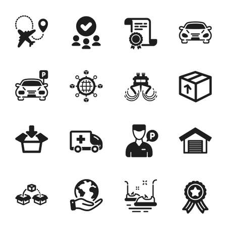 Set of Transportation icons, such as Parcel shipping, Car. Certificate, approved group, save planet. Bumper cars, Airplane, Ship. Logistics network, Package, Get box. Vector