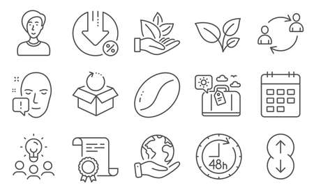 Set of Business icons, such as Scroll down, 48 hours. Diploma, ideas, save planet. User communication, Leaves, Loan percent. Organic product, Businesswoman person, Calendar. Vector