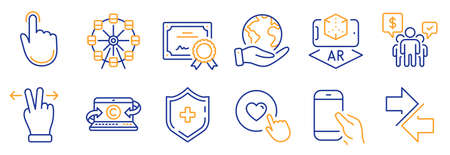 Set of Technology icons, such as Hold smartphone, Ferris wheel. Certificate, save planet. Hand click, Teamwork, Copywriting notebook. Synchronize, Like button, Augmented reality. Vector Illusztráció