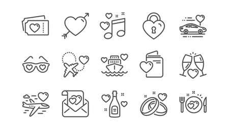 Honeymoon line icons set. Wedding car, marriage rings, love. Valentine heart, Bridal champagne icons. Couple tickets, honeymoon travel, married cruise. Wedding love music. Linear set. Vector Vecteurs