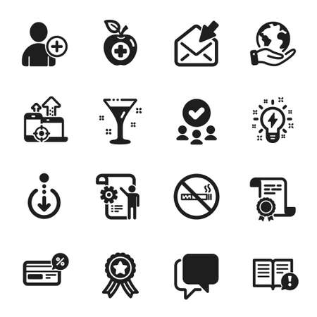 Set of Business icons, such as No smoking, Facts. Certificate, approved group, save planet. Inspiration, Open mail, Cocktail. Seo devices, Medical food, Add user. Vector