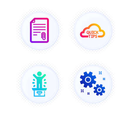 Attachment, Quick tips and Winner podium icons simple set. Button with halftone dots. Work sign. Attach file, Helpful tricks, First place. Settings. Education set. Vector