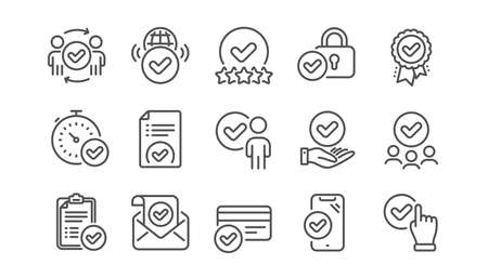 Approve line icons set. Interviewed, accepted document, approved verification. Quality check, protection, checklist icons. Guarantee document, accepted card, right choice. Flight confirmed. Vector