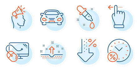 Low percent, Touchscreen gesture and Car signs. Computer mouse, Loan percent and Brand ambassador line icons set. Chemistry pipette, Clean skin symbols. Pc component, Discount. Business set. Vector  イラスト・ベクター素材