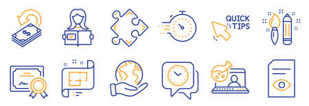 Set of Education icons, such as View document, Cashback. Certificate, save planet. Creativity, Woman read, Timer. Strategy, Online chemistry, Clock. Architectural plan, Quick tips line icons. Vector