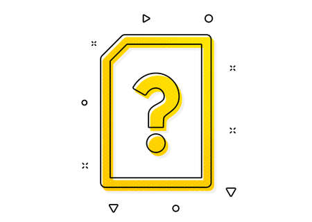 File with Question mark sign. Unknown Document icon. Untitled Paper page concept symbol. Yellow circles pattern. Classic unknown file icon. Geometric elements. Vector