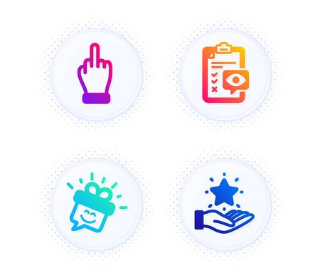Eye checklist, Smile and Middle finger icons simple set. Button with halftone dots. Loyalty program sign. Optometry, Gift box, Gesture. Bonus star. People set. Gradient flat eye checklist icon. Vector