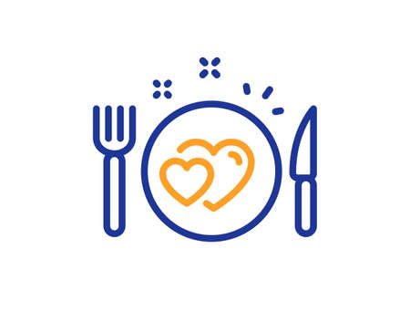 Romantic dinner line icon. Valentines day food sign. Couple relationships symbol. Colorful thin line outline concept. Linear style romantic dinner icon. Editable stroke. Vector Ilustración de vector