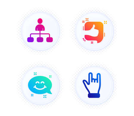 Smile chat, Management and Like icons simple set. Button with halftone dots. Horns hand sign. Happy emoticon, Agent, Thumb up. Gesture palm. People set. Gradient flat smile chat icon. Vector