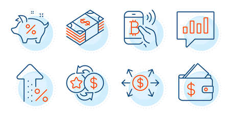 Analytical chat, Dollar exchange and Increasing percent signs. Bitcoin pay, Loan percent and Wallet line icons set. Loyalty points, Usd currency symbols. Mobile payment, Piggy bank. Vector