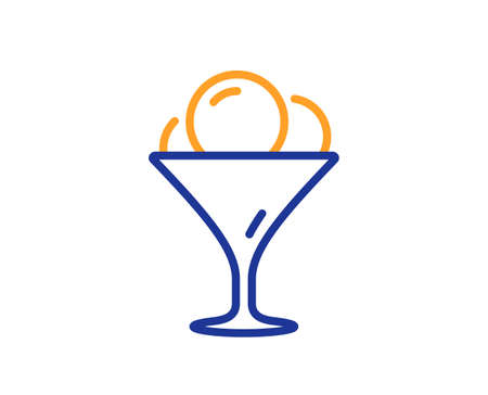 Ice cream in glass line icon. Vanilla sundae sign. Frozen summer dessert symbol. Colorful thin line outline concept. Linear style ice cream icon. Editable stroke. Vector
