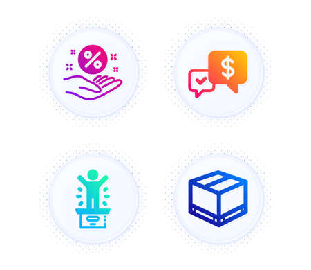 Winner podium, Payment received and Loan percent icons simple set. Button with halftone dots. Delivery box sign. First place, Money, Discount hand. Cargo package. Business set. Vector  イラスト・ベクター素材