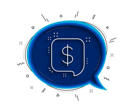 Payment received line icon. Chat bubble with shadow. Dollar sign. Finance symbol. Thin line payment message icon. Vector