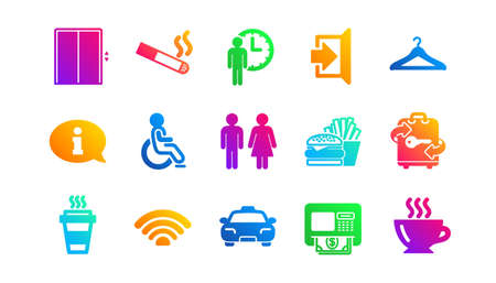 Elevator, Taxi and Wifi internet. Public services icons. Fast food classic icon set. Gradient patterns. Quality signs set. Vector Ilustração