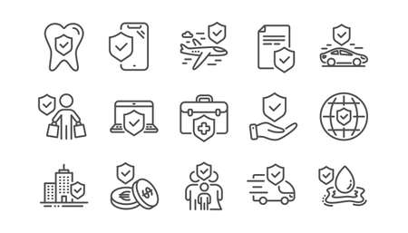 Insurance line icons set. Family care, risk, help service. Car accident, flood insurance, flight protection icons. Safety document, money savings, delivery risk. Car full coverage. Linear set. Vector