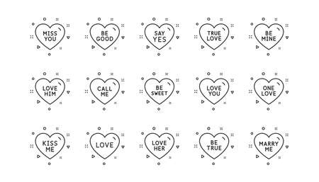 Sweetheart for valentines day, love heart, romantic message. Sweet heart line icons. Marry me, kiss me, one love icons. Valentine flirt, dating message. Linear set. Geometric elements. Vector