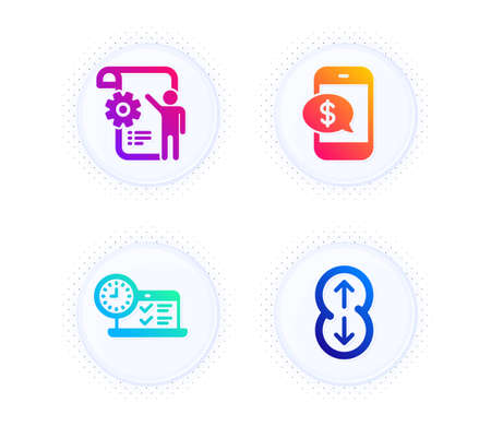 Phone payment, Settings blueprint and Online test icons simple set. Button with halftone dots. Scroll down sign. Mobile pay, Engineering cogwheel, Examination. Swipe arrow. Technology set. Vector