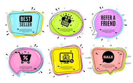 Refer a friend symbol. Big buys, online shopping. Referral program sign. Advertising reference. Quotation bubble. Banner badge, texting quote boxes. Refer friend text. Coupon offer. Vector Stock Illustratie