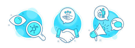 Consolidation, Employee and Messenger line icons set. Handshake deal, research and promotion complex icons. Chemical formula sign. Strategy, Cogwheel, Speech bubble. Chemistry. Business set. Vector