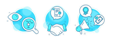 Success, Rejected payment and Report line icons set. Handshake deal, research and promotion complex icons. Chemical formula sign. Award reward, Bank transfer, Work analysis. Chemistry. Vector Иллюстрация