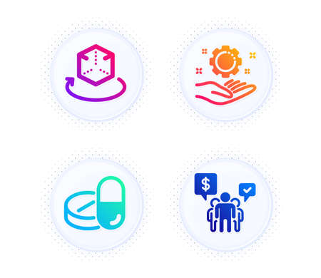 Medical drugs, Employee hand and Augmented reality icons simple set. Button with halftone dots. Teamwork sign. Medicine pills, Work gear, Virtual reality. Employees chat. Science set. Vector Ilustración de vector